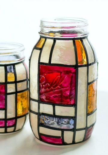 manualidades con frascos de vidrio en mosaic
