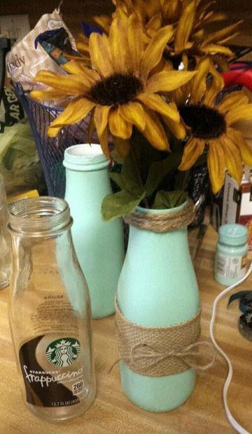 manualidades con frascos de vidrio para floreros
