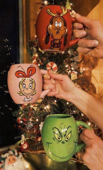 tazas decoradaras para navidad  con caricaturas