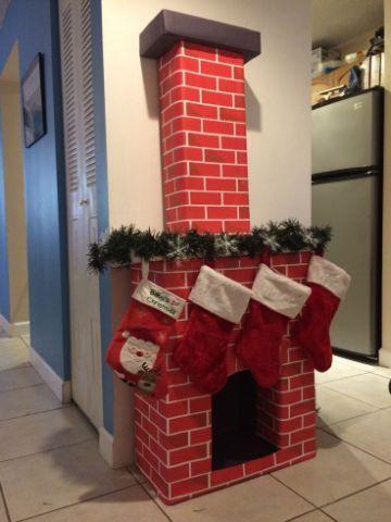 chimeneas navideñas de carton color rojo