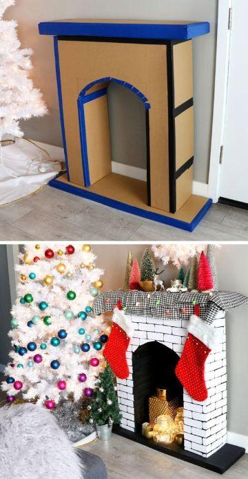 chimeneas navideñas de carton paso a paso