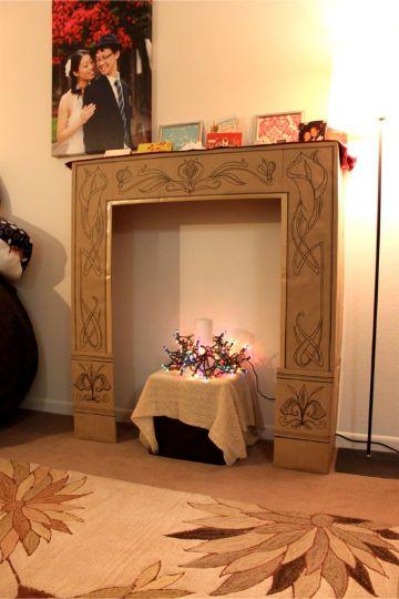 chimeneas navideñas de carton pequeña