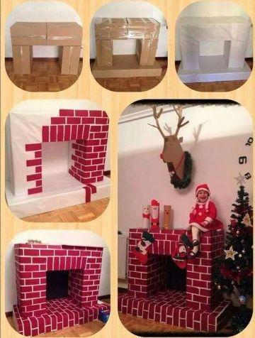 chimeneas navideñas de carton tutorial