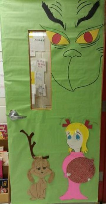 puertas decoradas de grinch para salon de clases