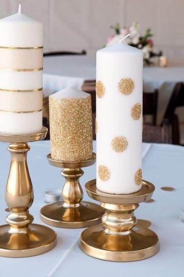 velas decoradas para navidad con dorado