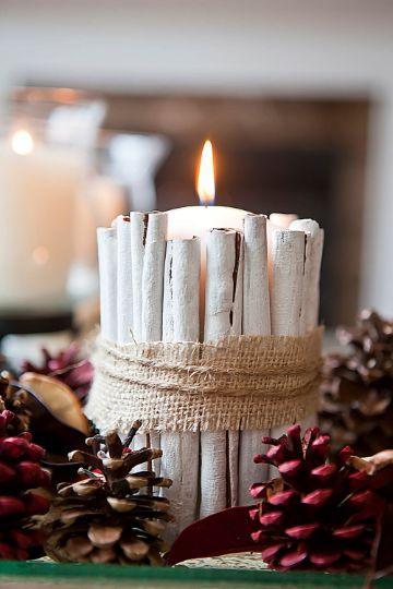 velas decoradas para navidad con madera