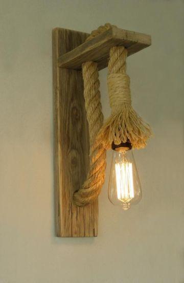 lamparas hechas con sogas para la pared