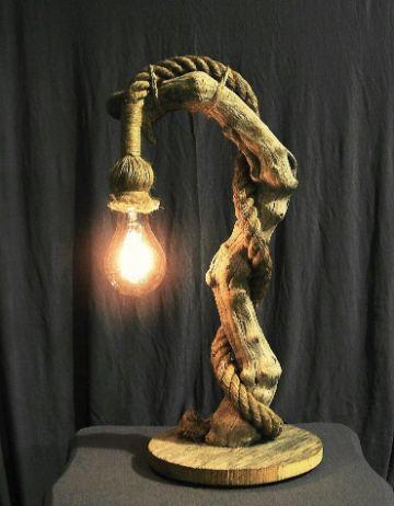lamparas hechas con sogas y madera