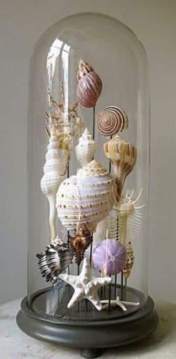 adornos con caracoles de mar hechos a mano