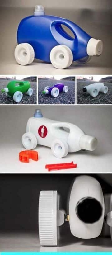 autos hechos con botellas de detergente