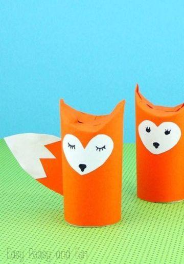 animales con rollos de papel para niños