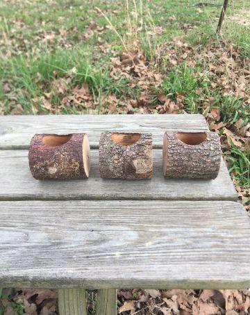 manualidades con troncos de madera para el jardin