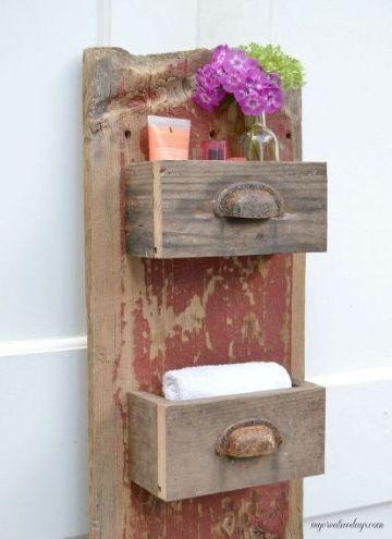 manualidades con madera reciclada para el baño