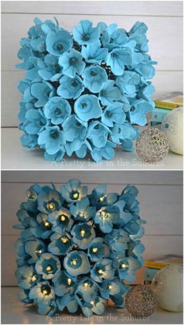 flores de carton de huevo reciclado para decorar