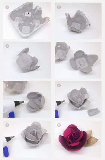 flores de carton de huevo reciclado sencillas
