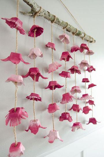 flores de carton de huevos para decorar
