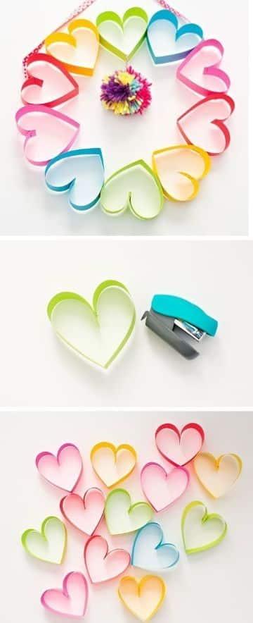 manualidades de corazones de papel pequeños
