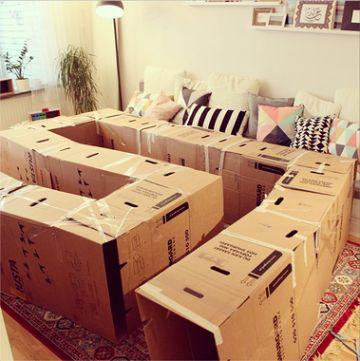 reciclado con cajas de carton para jugar