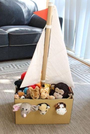 reciclado con cajas de carton para niños