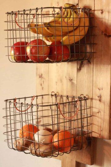 canastas colgantes para cocina recicladas