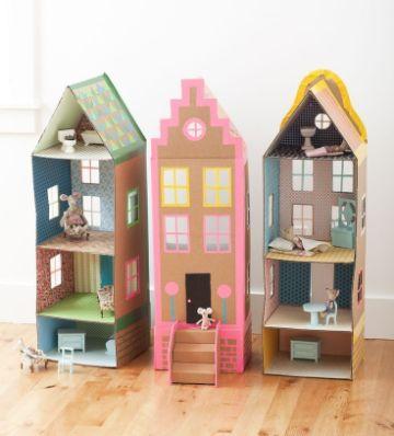 divertidas casas de muñecas de carton