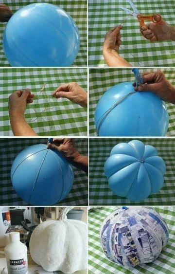 calabaza con globo y papel paso a paso
