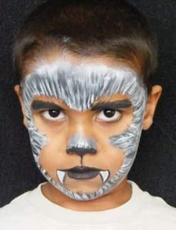 caras de halloween pintadas de hombre lobo