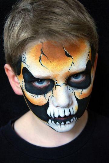 caras pintadas de calaveras para niños en halloween