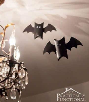murcielagos con rollos de papel higienico para halloween