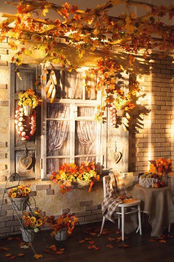ventanas decoradas de halloween con hojas