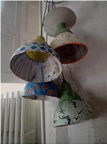 lamparas de papel mache coloridas