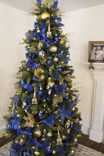 arbol de navidad azul y dorado grande
