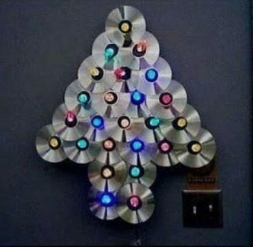 arbol de navidad con cd usados en casa