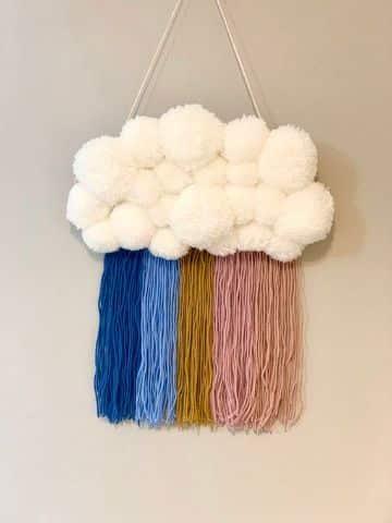 ideas con pompones de lana para habitaciones
