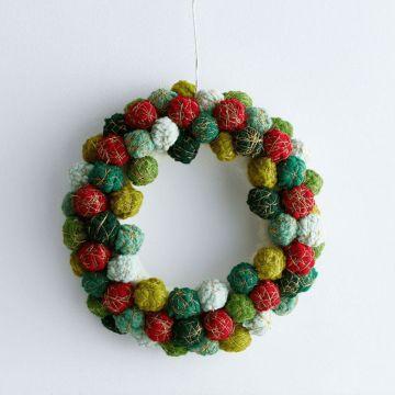 ideas con pompones de lana para navidad