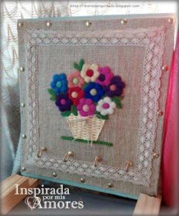 manualidades con arpillera y lana sencillas
