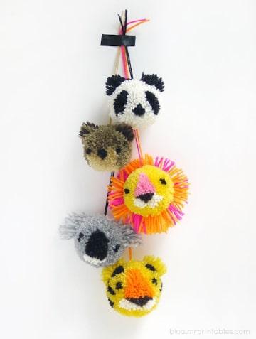 manualidades con pompones de lana para chicos