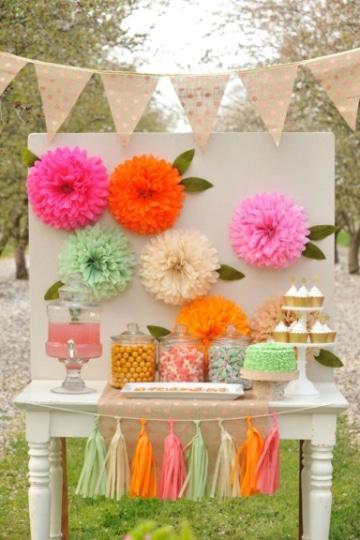 flores con papel seda para fiestas