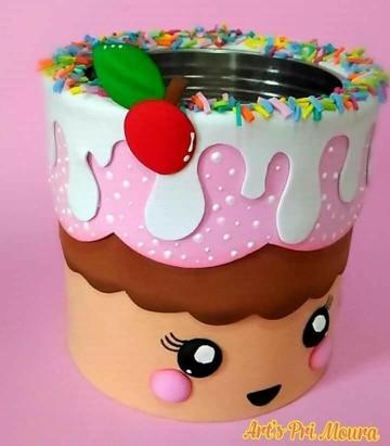 latas decoradas con goma eva para casa