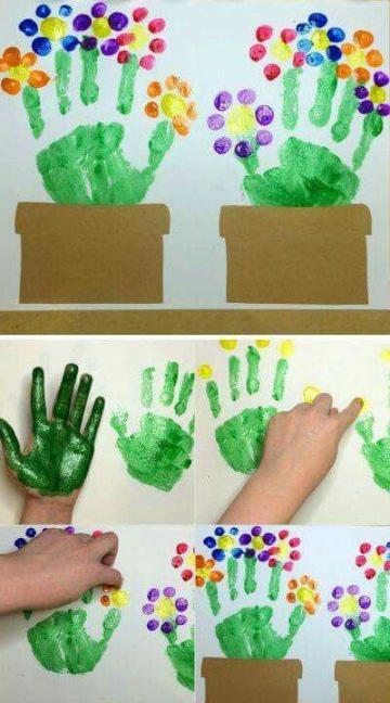 manualidades con temperas para niños faciles