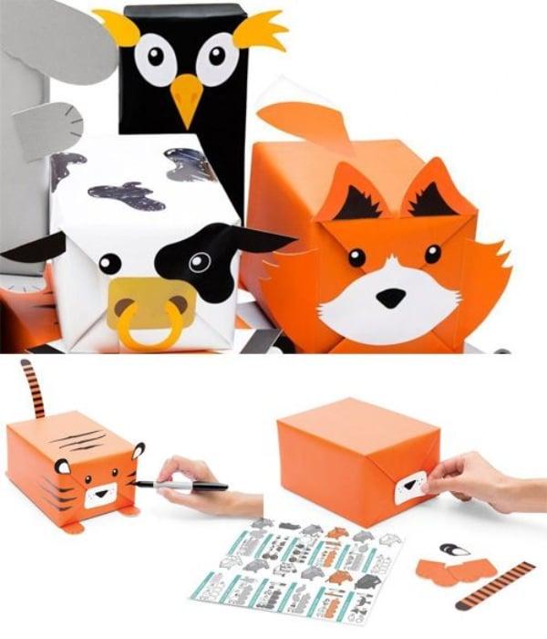 animales hechos con cajas de cartón para regalar