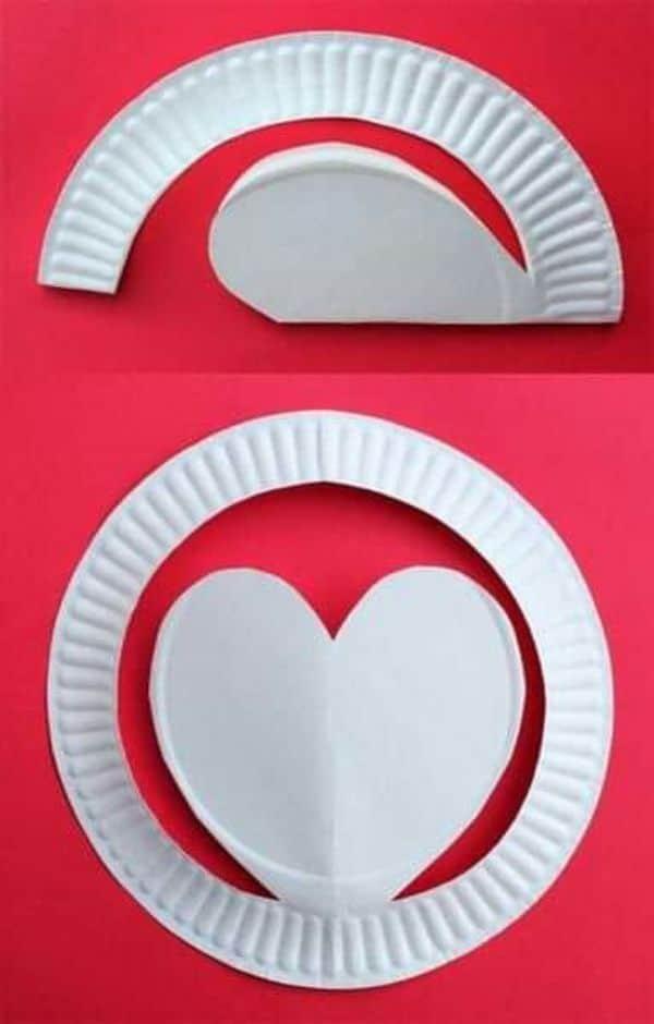 manualidades con platos de plastico para san valentin