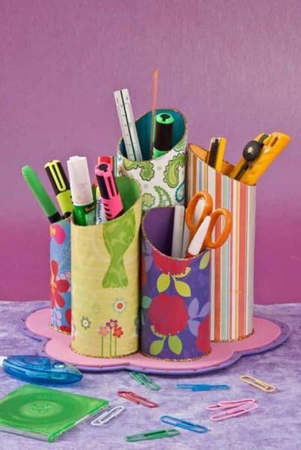 portalapices de tubos de papel higienico decorados