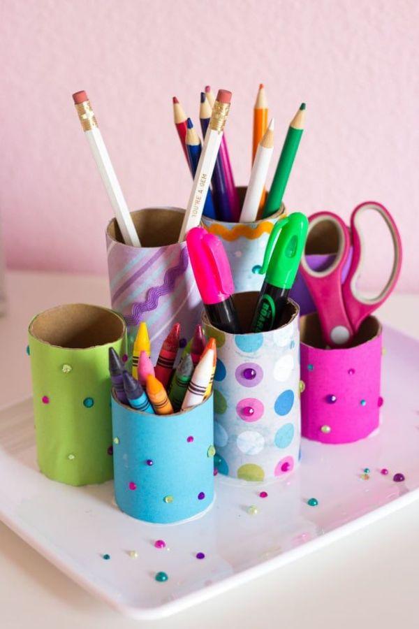 portalapices de tubos de papel higienico ideas