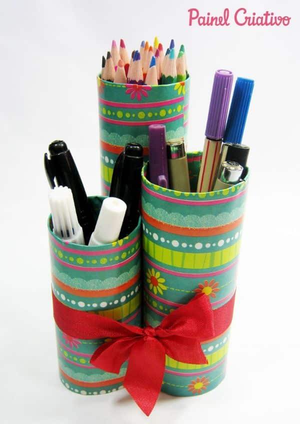 portalapices de tubos de papel higienico paso a paso