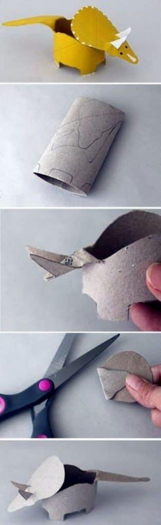 dinosaurios con rollos de papel paso a paso