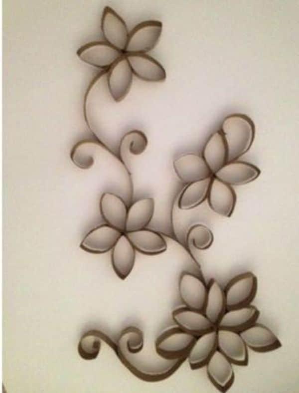 flores con tubo de papel higiénico para decorar la casa