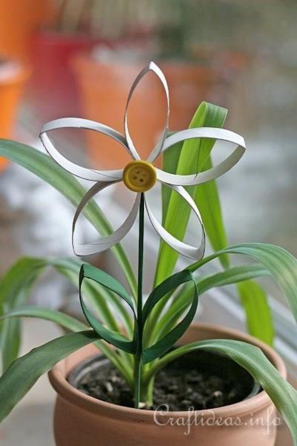 flores con tubo de papel higiénico sencillas
