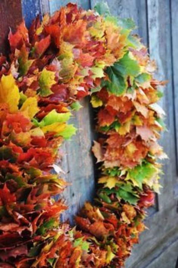 manualidades con hojas seca para decorar
