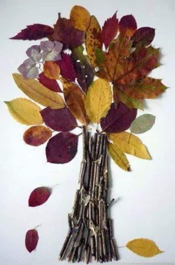 manualidades con hojas seca para niños